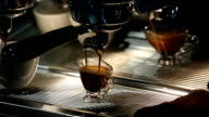 Barista makes coffee in the coffee machine. Close up. video