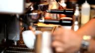 HD: Barista prepare milk foam using latte steamer video