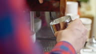 Barista Steaming Milk for Latte video