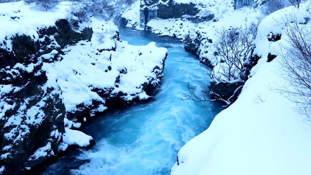 Barnafoss or Bjarnafoss, waterfall near Hraunfossar video