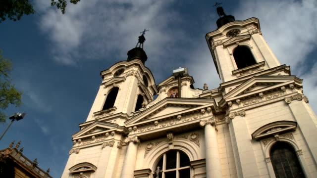 Baroque Serbian orthodox church with dramatic sky video