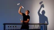Bartender juggler. Medium shot video