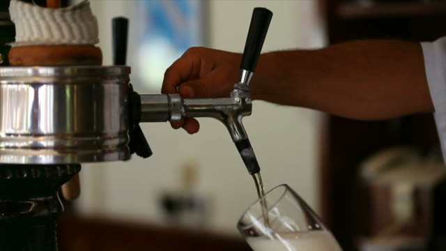 Bartender Pouring Beer Close-up video