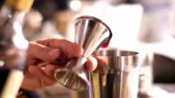 Bartender pouring drink into shaker, slowmotion footage video