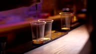 bartender puring two glasses of gin video