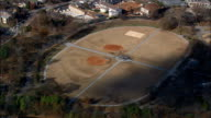 baseball and soccer pitches in piedmont park Atlanta - Aerial View - Georgia,  Fulton County,  United States video