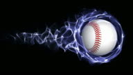 Baseball Ball in Blue Abstract Particles Ring, Loop, 4k video