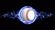 Baseball Ball in Blue Abstract Particles Ring, Rendering, Animation Background, Loop video