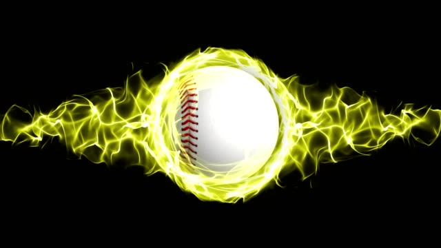 Baseball Ball in Yellow Flames Abstract Particles Ring, Animation video