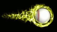 Baseball Ball in Yellow Flames Abstract Particles  Ring, Loop, 4k video