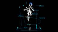 3D baseball pitcher man with technical data video