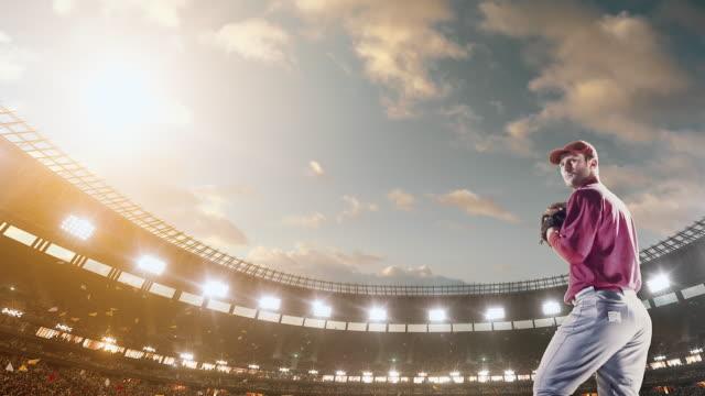 Baseball pitcher throwing ball during game video