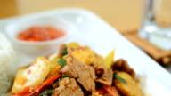 Basil Pork, Fried basil leave with pork video