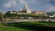 Basilica of Esztergom above the Danube river video