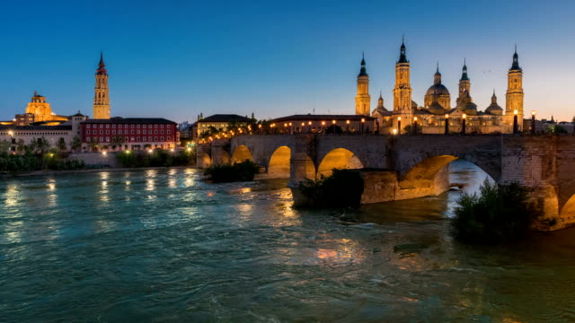Basilica Our Lady Pillar In Zaragoza And the Bridge In Spain At Night video