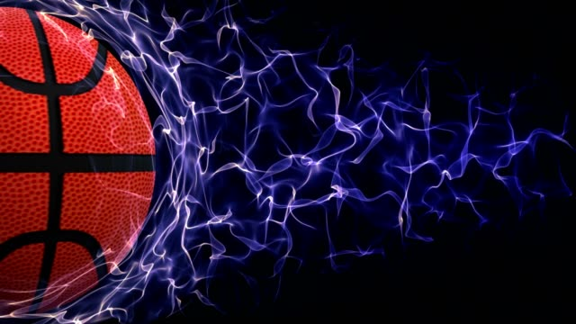 Basket Ball in Blue Abstract Particles Ring Animation, Rendering, Backgrund, Loop video