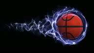 Basket Ball in Blue Abstract Particles Ring, Loop, 4k video