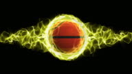 Basket Ball in Yellow Flames Abstract Particles Ring, Loop, 4k video