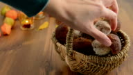 Basket with penny bun mushrooms video