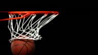 Basketball falls through hoop, slow motion video