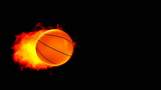 Basketball fireball in flames on black background video