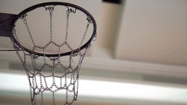 Basketball getting in or miss out chain hoop. Concept and abstract of opportunities, success and mistake video