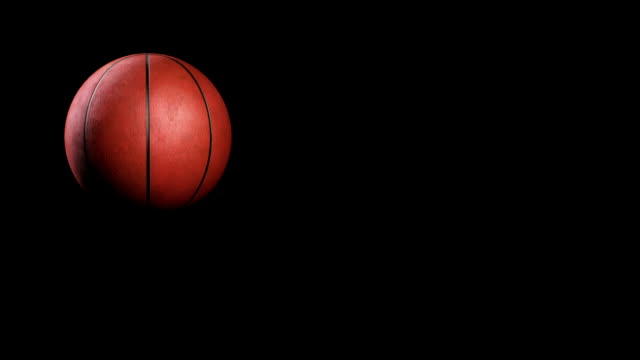 Basketball, jumping on black background, loop video