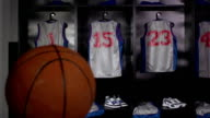 Basketball locker / changing room with Ball, DOLLY (Sport kit) video