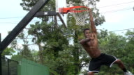 Basketball Player Hanging on Rim video
