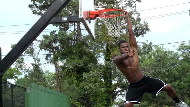 Basketball Player Hanging on Rim video