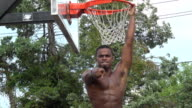 Basketball Player Hanging on Rim CU video