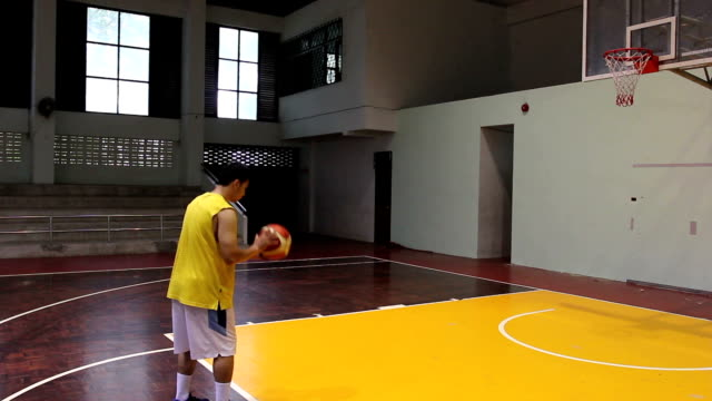 Basketball player shooting for his score video