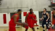 Basketball players passing the ball during a game and making a basket video