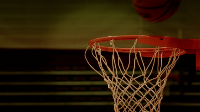 Basketball Practice Layup Ball Into Hoop Close Up video