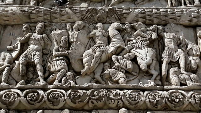 Bas-relief on the ancient Arch of Galerius in Thessaloniki, Greece video