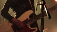 Bass guitarist. Close-Ups. video