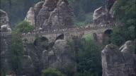 Bastei Bridge  - Aerial View - Saxony,  helicopter filming,  aerial video,  cineflex,  establishing shot,  Germany video