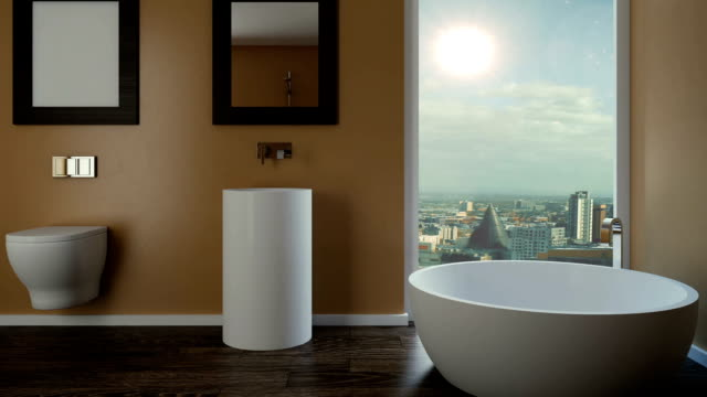 Bathroom. Rainy evening. 3D rendering video