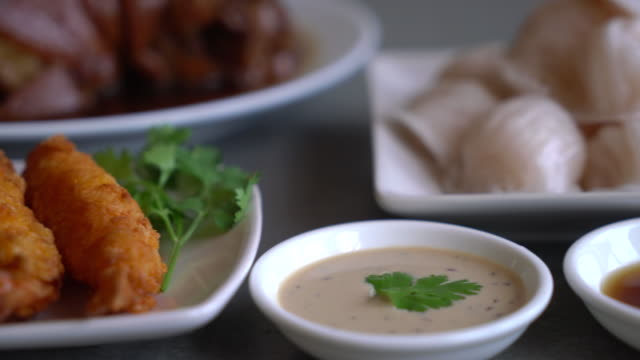 batter-fried prawns on dining table video