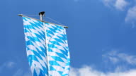 Bavarian flag in front of blue sky video