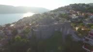 Bay Marine, port and beach with plenty of palm trees. The city of Herceg Novi, Montenegro video