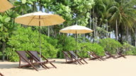 Beach and beach chairs, Thailand - Vacation concept video