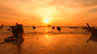 Beach and Boats at Sunrise Silhouette video