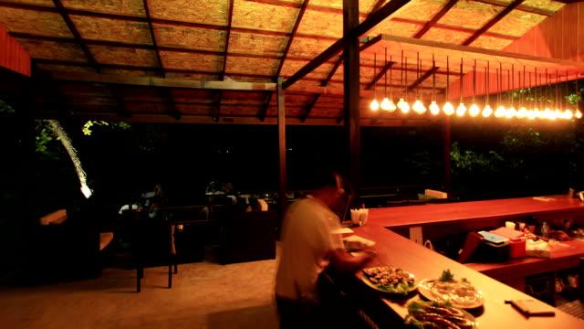 Beach bar at night video