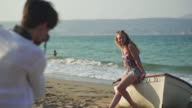 Beach boat posing video