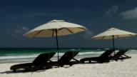 Beach Chairs and Palapas in Tulum Mexico video