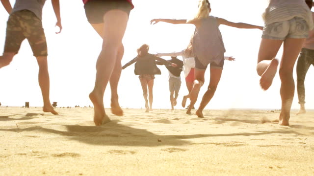 SLOW MOTION - Beach Friends Group Running video