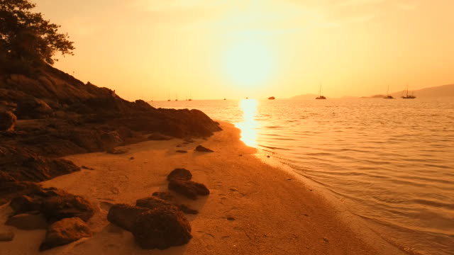 Beach on Tropical Islands at Sunset Silhouette video