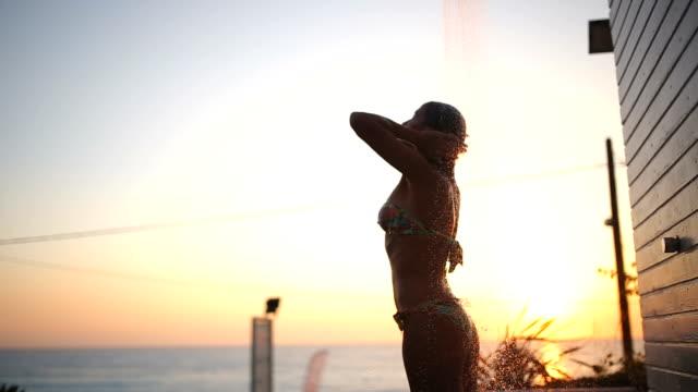 Beach shower in Greece,Lefkada video