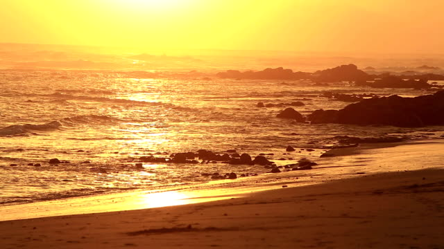 Beach sunset with waves video